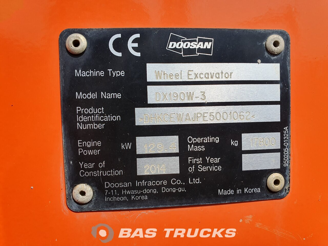 For sale at BAS Machinery: Doosan DX190 W-3 4X4 01/2014
